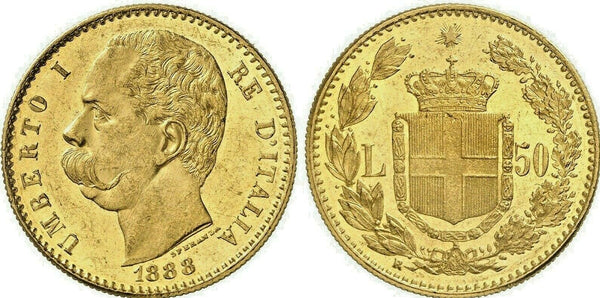 Very Rare 1888 Italy Gold Coin 50 Lire NGC MS62 King Umberto I Mintage-2,125 Rom
