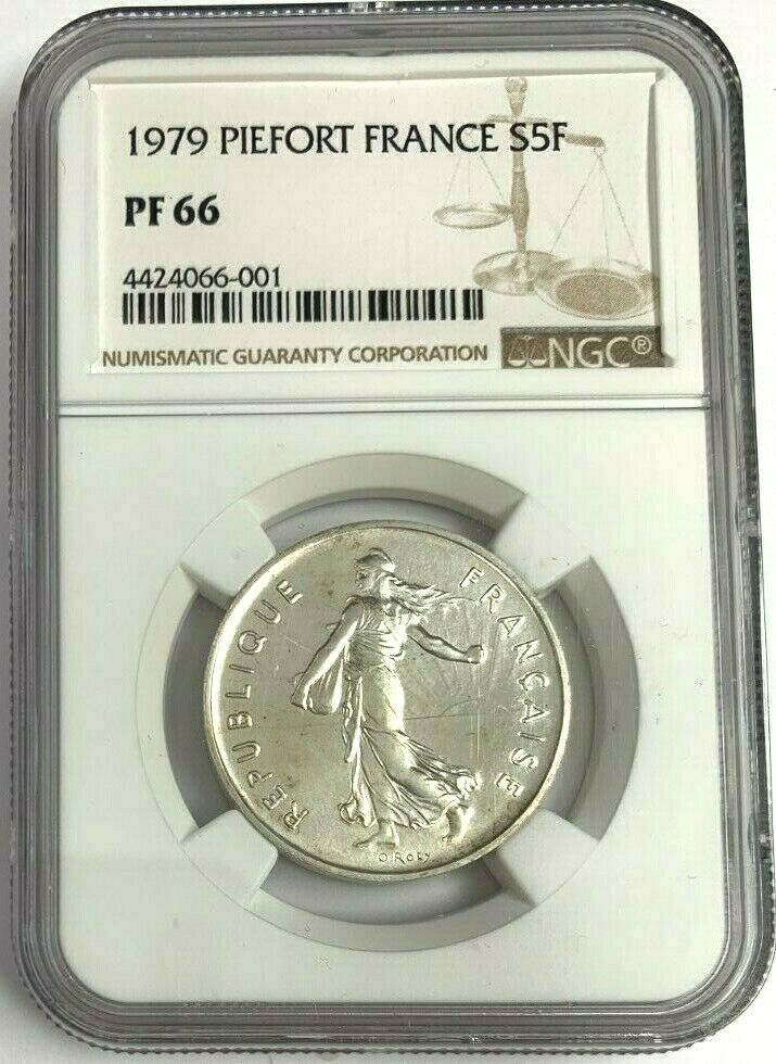 1979 France Proof Silver Coin 5 Francs Piedfort NGC PF66 Mintage-600
