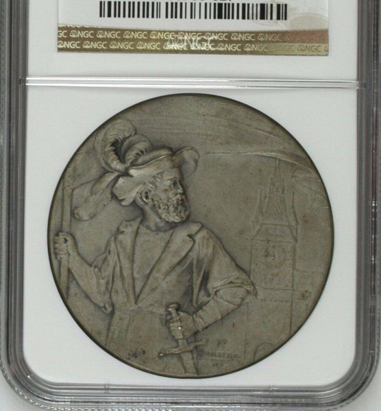 Swiss 1902 Silver Shooting Medal Zug Mintage-300 R-1678a M-996 NGC MS64 Rare