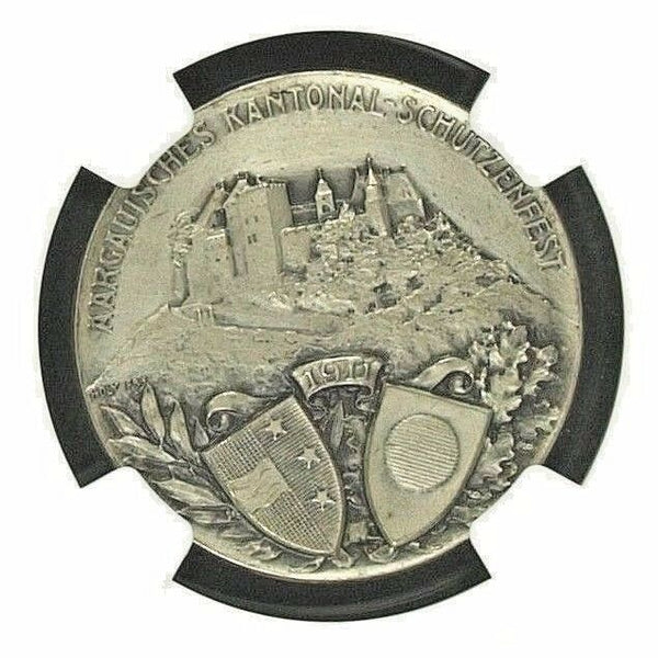Swiss 1911 Medal Shooting Fest Aargau Lenzburg R-33a Beautiful Women NGC MS64