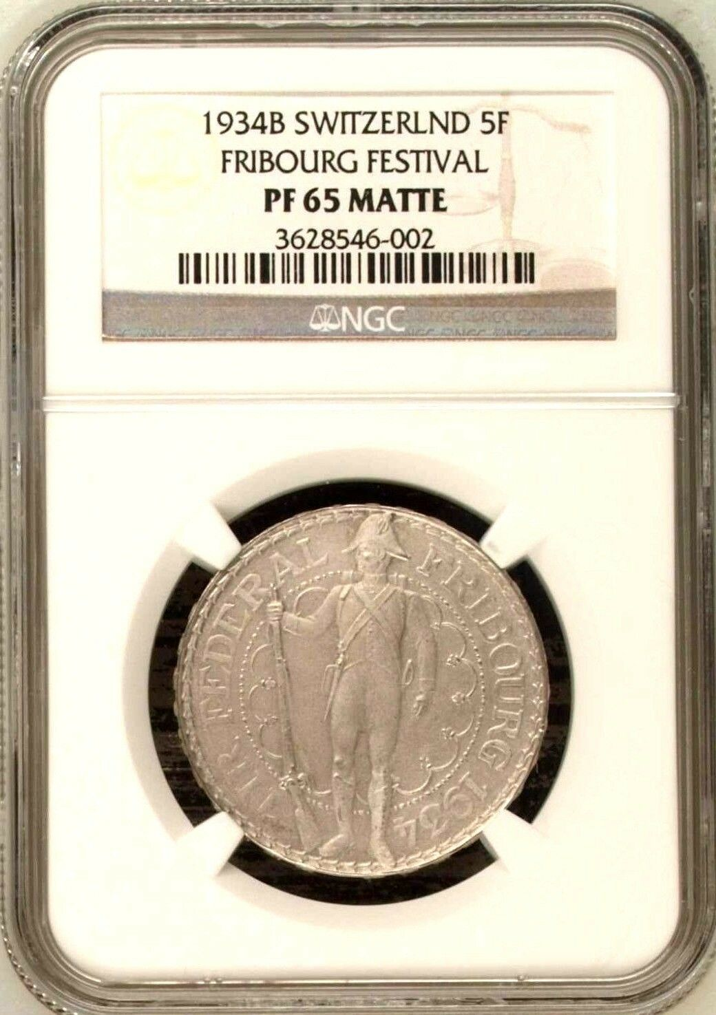 Swiss 1934 Silver Shooting Thaler 5 Francs Fribourg R-431b NGC PF65 Matte Rare