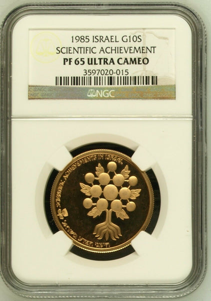 Israel 1985 Gold Coin 10 Sheqalim Scientific Achievement NGC PF65 Low Mintage