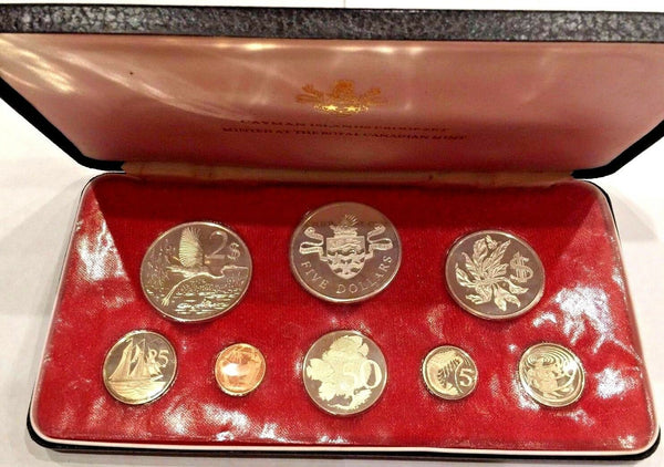Cayman Islands 1974 Set 8 Proof Coins 4 Silver minted in Canada Box