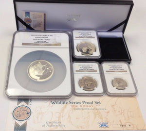 South Africa 2003 Set 4 Silver Coins Rhinocerous Wildlife Rhino NGC PF67-69 Rare