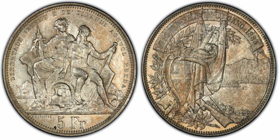 Swiss 1883 Shooting Taler 5 Francs Lugano Helvetia Neptune R-1373a PCGS MS64