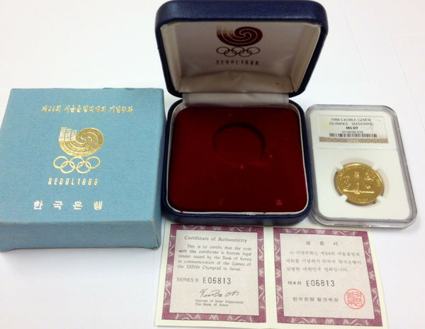 South Korea 1988 Gold 25K Won Olympics Seesawing Seoul NGC MS69 Box COA