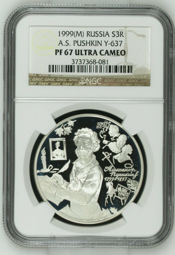 Russia 1999 Silver Coin 3 Roubles Alexander Pushkin Y-636 NGC PF 67 Ultra Cameo