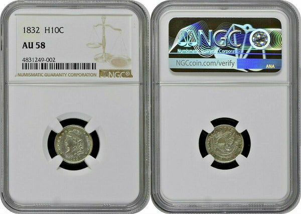 1832 Early Half Dimes NGC AU58 Silver Coin 5 cents United States