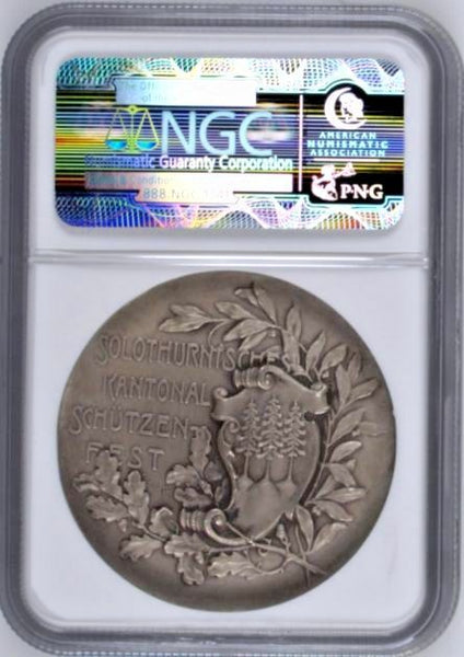 Swiss 1905 Silver Shooting Medal Solothurn Olten R-1127a Switzerland NGC MS64