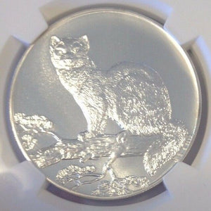 Russia 1995 L Silver Coin 3 Rouble Wildlife Sable NGC MS66 Matte