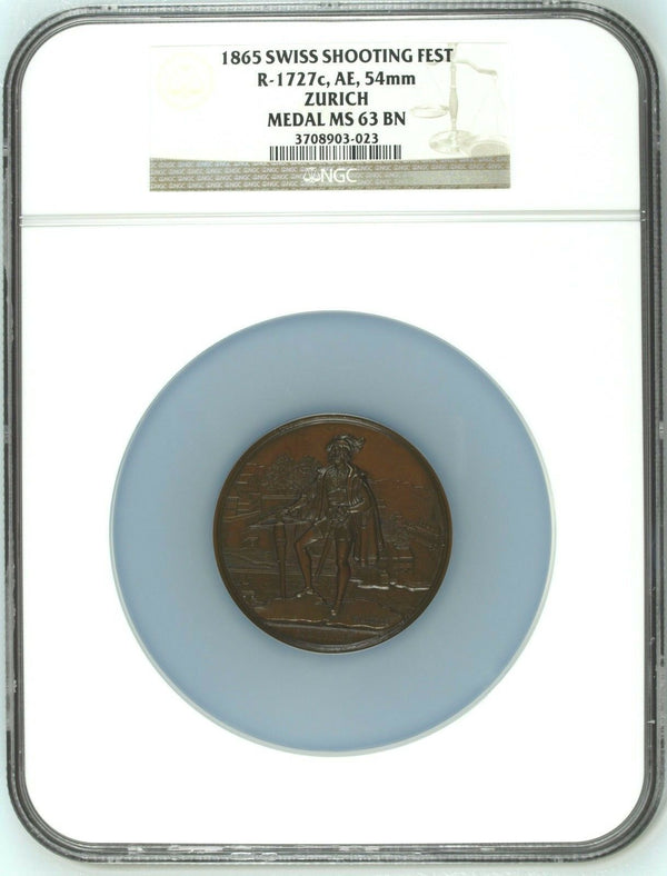 Rare Swiss 1865 Large Bronze Shooting Medal Zurich Switzerland R-1727c NGC MS63
