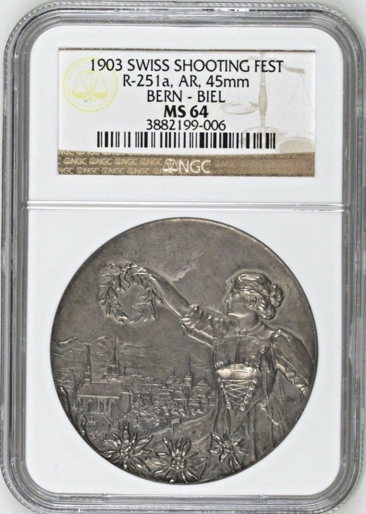 Swiss 1903 Silver Shooting Medal Bern Biel R-251a NGC MS64 Mintage-693