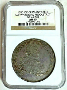 Germany 1780 ICK Silver Taler Schwarzburg Rudolstadt NGC AU55 Marriage of Prince