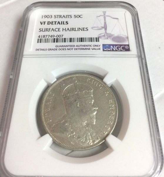 British Crown Colony 1903 Straits Settlements Edward VII Silver 50 Cents NGC VF