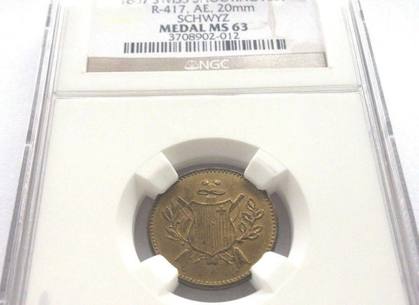 Swiss 1867 Brass Shooting Token Schwyz Richter-417b Switzerland Jeton NGC MS63