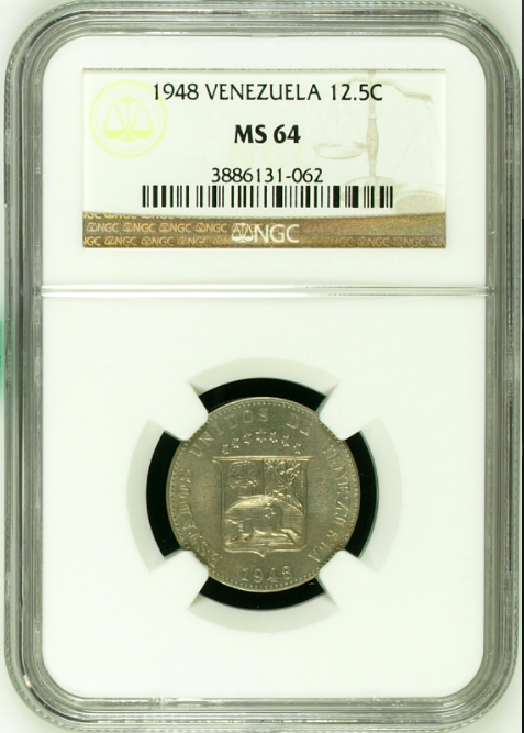 Venezuela 1948 Copper-Nickel Coin 12 1/2 Centimos NGC MS64