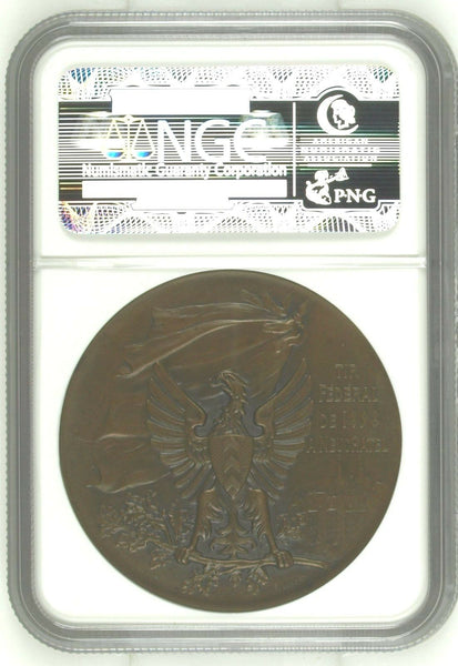 Swiss 1898  Ancient Bronze Medal Shooting Fest Neuchatel Eagle R-970e NGC MS65