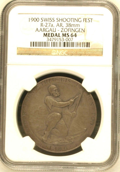 Swiss 1900 Silver Medal Shooting Fest Aargau Zofingen R-27a M-23 NGC MS64 Rare