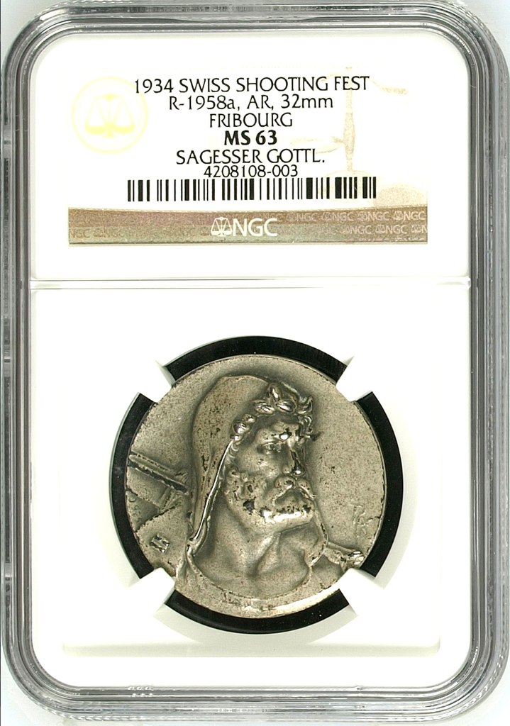 Swiss 1934 Silver Shooting Medal NGC MS63 Fribourg R-1958a Very Rare
