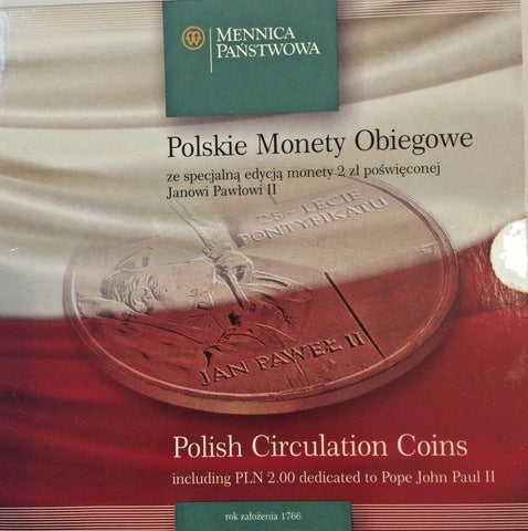 Poland 1995, 1996, 2003 Set 10 Polish Circulation Coins - Pope John Paul II