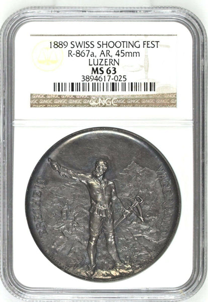 Swiss 1889 Silver Shooting Medal Luzern Switzerland R-867a NGC MS63 nice Patina