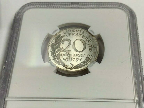 1979 France Proof Silver Coin 20 Centimes Piedfort NGC PF63 Mintage-600