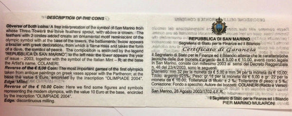 San Marino 2003 Proof Set 10€ & 5€ Silver Olympic Games Athens 2004 Box COA