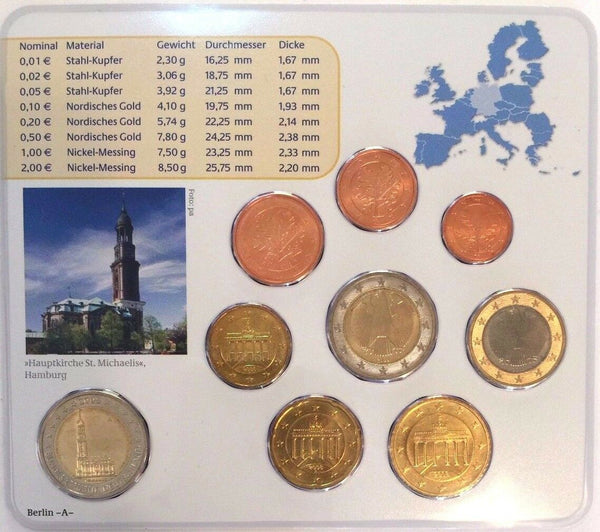 2008 A Germany Official Euro 9 Coins Set Special Edition Berlin Mint Deutschland