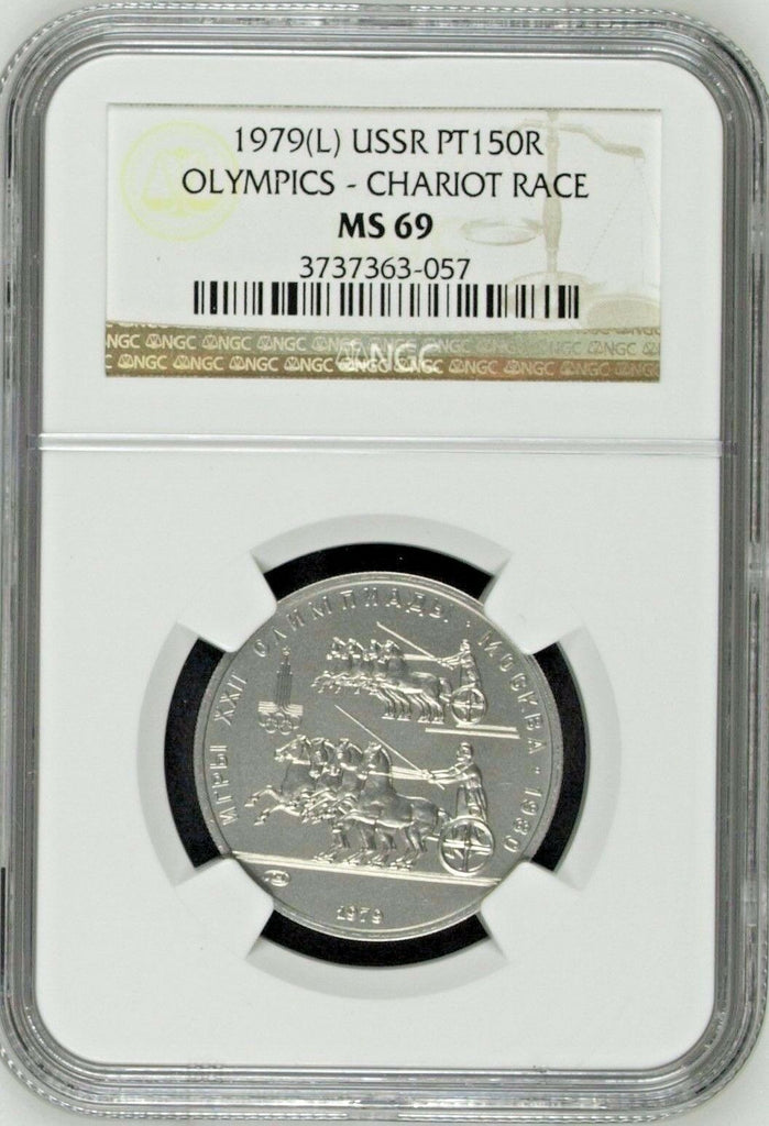 USSR 1979 Platinum 150Roubles Olympics 1980 Chariot Racers Horse NGC MS69 Russia