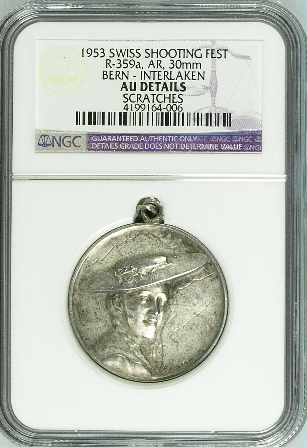 Swiss 1953 Rare Silver Shooting Medal Bern Interlaken R-359a Beautiful Woman NGC