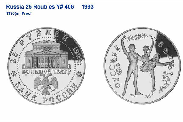 1993 Russia 25 Roubles Ballet Couple 5oz Silver Proof Coin NGC PF67 UC Rare