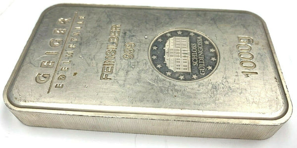 1 kilo .999 Fine Silver Bar Germanys Geiger Edelmetalle Mint Security Line Serie