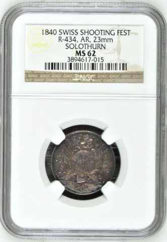 1840 Swiss Token Shooting Fest Solothurn R-434c Jeton Switzerland NGC MS62 Rare