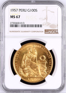 Peru 1957 Gold 100 NGC MS67 Soles Seated Liberty Lima mintage-550 Rare Top Pop