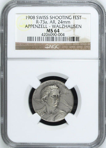 1908 Switzerland Shooting Medal Appenzell Walzhausen R-73a Archer NGC MS64