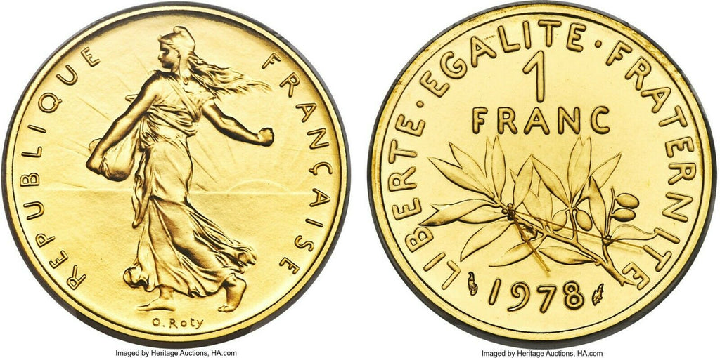 Rare France 1978 Gold Proof 1 Franc Piefort Paris PCGS SP68 Mintage-142