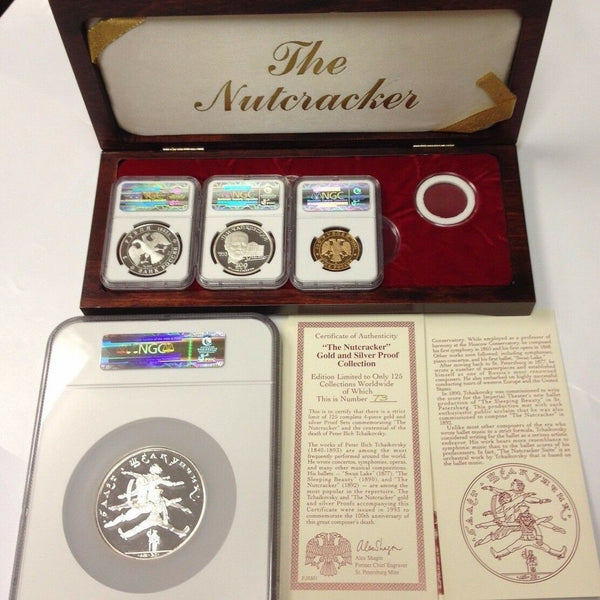 Russia 1993 Gold Silver Set Coins Medals Ballet Nutcracker NGC PF69 Mintage-125