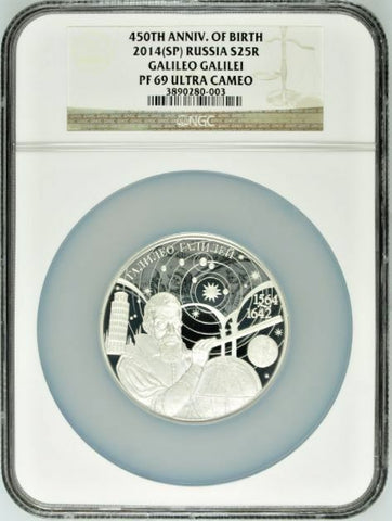 2014 Russia 25 Rouble 5oz Silver Coin Galileo Galilei NGC PF69 Mintage-850