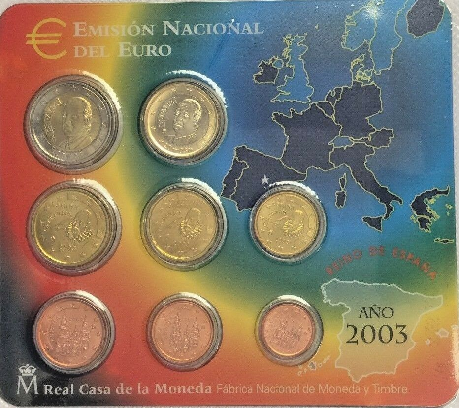 Spain 2003 Official Euro Set 8 Coins Special Edition Spanien España