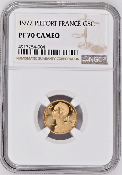 France 1972 Gold Piéfort Coin 5 Centimes Mintage-75 NGC PF70 Top Pop