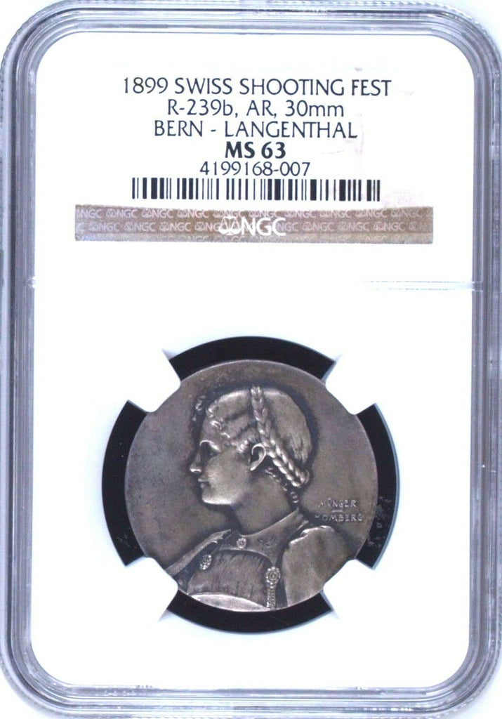 Swiss 1899 Silver Shooting Medal Bern Langenthal Beautiful Woman R-239b NGC MS63