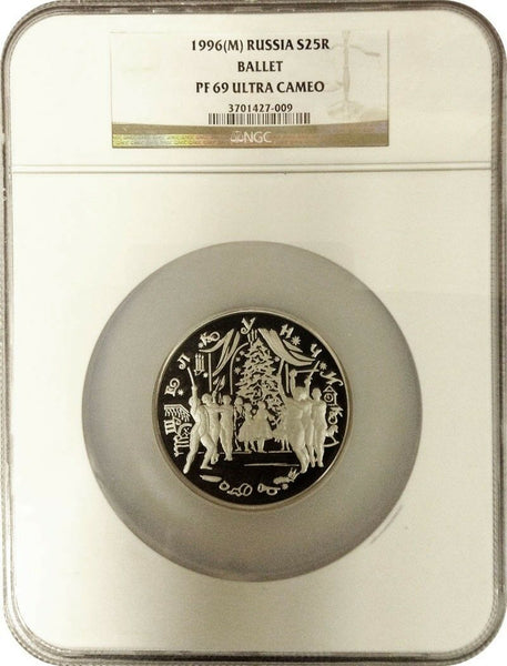 Russia 1996 Silver Coin 25 Rubles Ballet Nutcracker Proof NGC PF69 Low Mintage