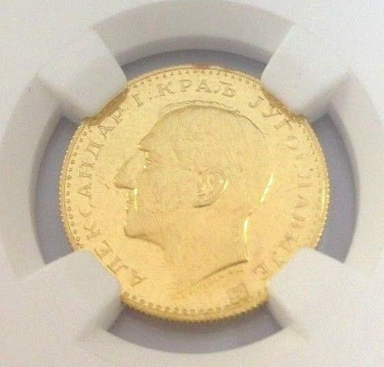 Yugoslavia 1932 (K) Gold Dukat Alexander I Countermark Ear of Corn NGC MS62 Rare
