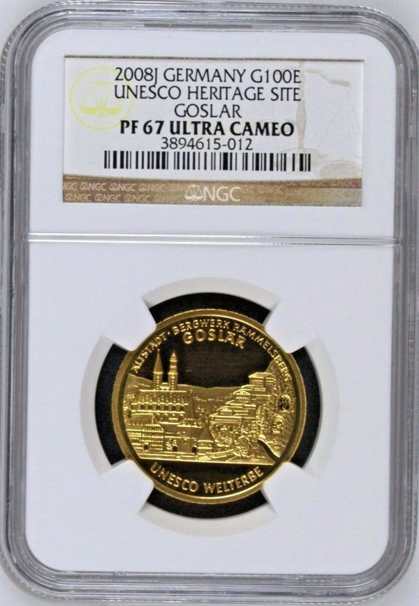 Germany 2008 J Proof Gold 100 Euro UNESCO Heritage Site Goslar NGC PF67 Box COA