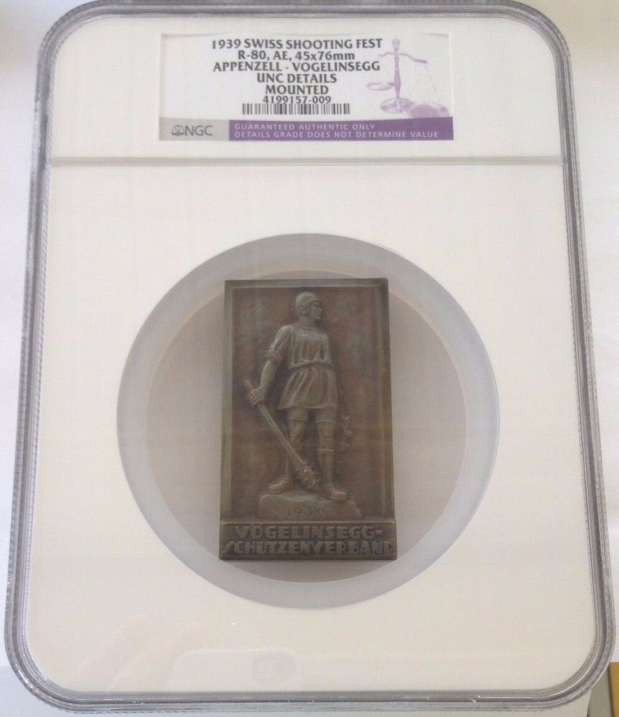 Swiss 1939 Silver Shooting Medal Appenzell Vogelinsegg R-80a NGC - Very Rare