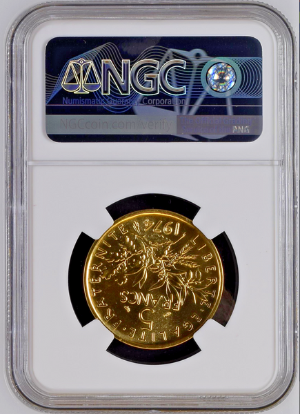 France 1974 Gold Proof 5 Francs Piefort Paris NGC PF67 Mintage-107
