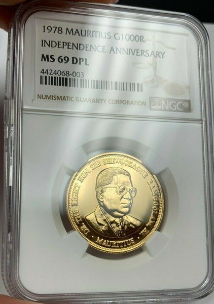 1978 Mauritius 1000 Rupees Gold Coin Independence Anniversary MS69 Top Pop