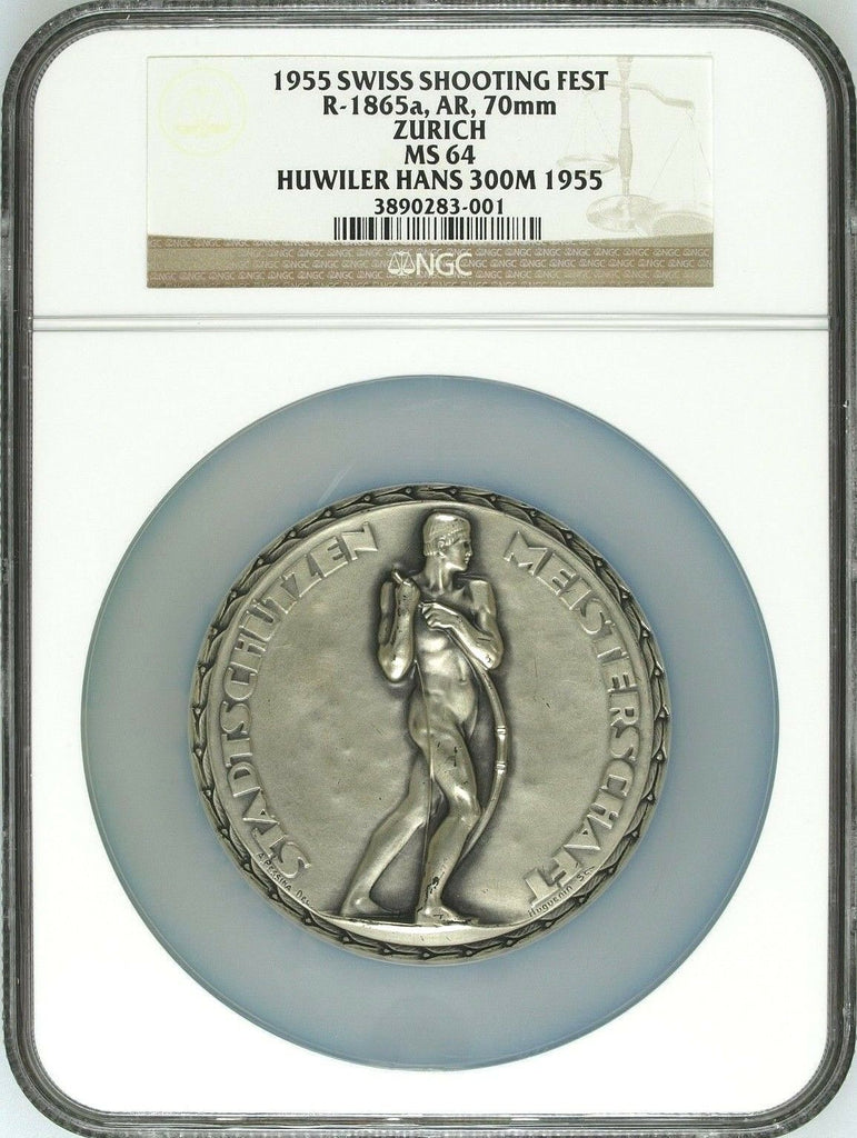Rare Swiss 1955 Silver Shooting Medal Zurich Bow Archer R-1865a NGC MS64