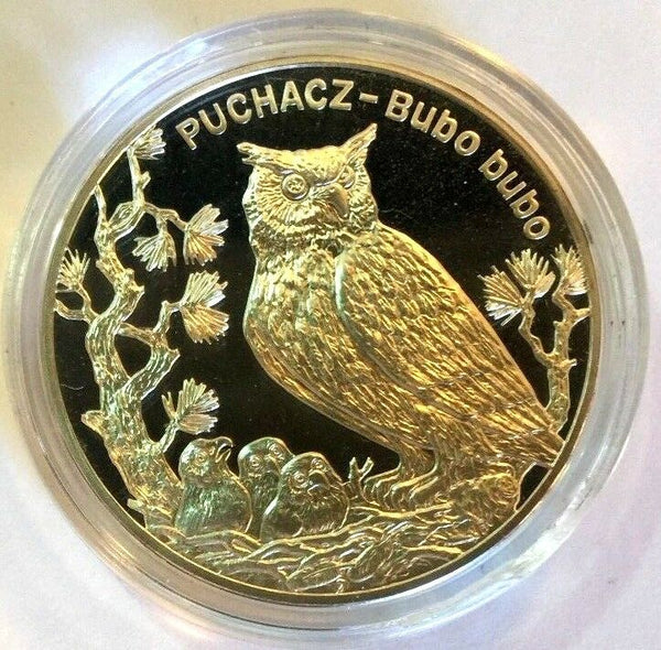 2005 Poland Silver 20 Zloty Owl Puchacz Bubo Animals of the World