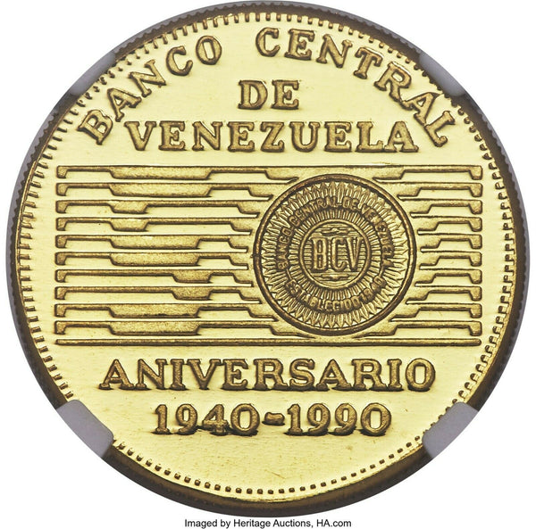 Venezuela 1990 Gold 50 Bolívares 50th Anniversary of the Central Bank NGC PF66